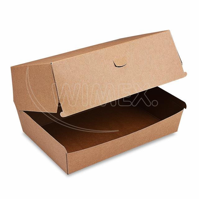 Box na hamburger PLUS, 19,5 x 13,5 x 10 cm, hnědý, nepromastitelný [50 ks]