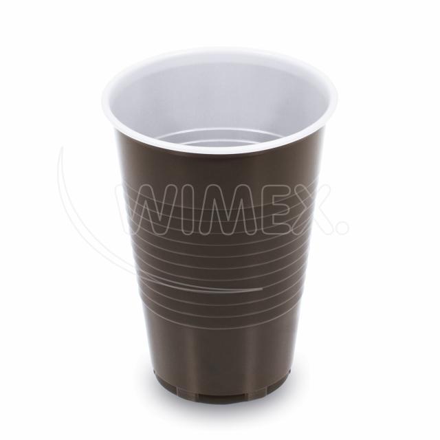 Kávový kelímek hnědo-bílý 0,2 l -PP- (Ø 70 mm) [100 ks]
