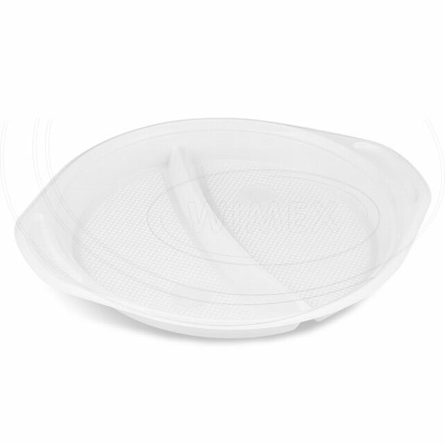 Talíř s oušky dělený na 2 porce, bílý (PP) Ø 22 cm [100 ks]